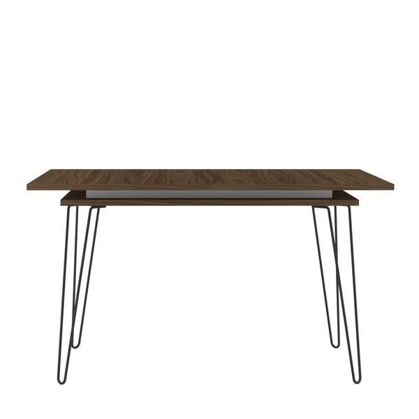 Tmavě hnědý rozkládací jídelní stůl Symbiosis Aero
