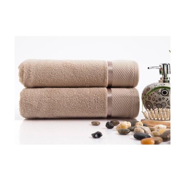Sada 2 ručníků Delta Brown, 50x100 cm