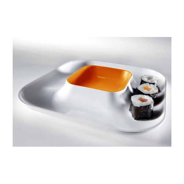 Oranžový talíř na jednohubky Entity, 21x21 cm