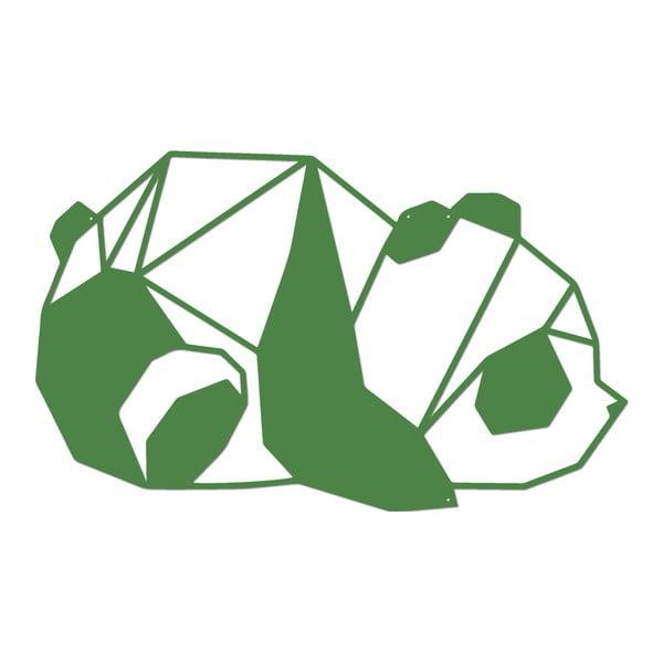 Zelená kovová nástěnná dekorace Panda