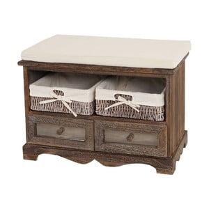 Hnědá dřevěná lavice s úložným prostorem Mendler Shabby Dia