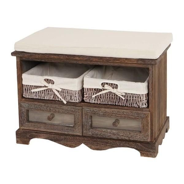 Hnědá dřevěná lavice s úložným prostorem Dia