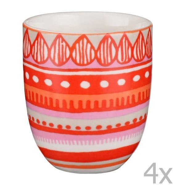 Sada 4 porcelánových šálků na espresso Oilily 80 ml, červená
