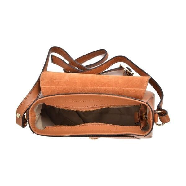 Koňakově hnědá kožená kabelka Mangotti Bags Karmo