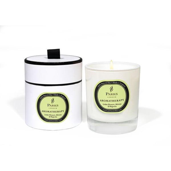 Lumânare parfumată Parks Candles London Aromatherapy, aromă de flori de tei, mimoza și magnolie, durată ardere 50 ore