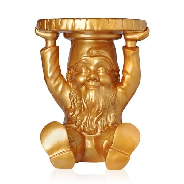 Taburetka/odkládací stolek Trpaslík Atilla, zlatá