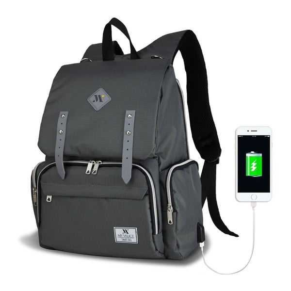 MOTHER STAR Baby Care Backpack antracitszürke hátizsák anyukáknak USB csatlakozóval - My Valice