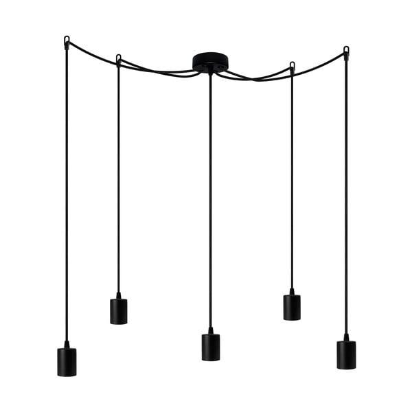 Závěsné svítidlo s 5 černými kabely a černou objímkou Bulb Attack Cero
