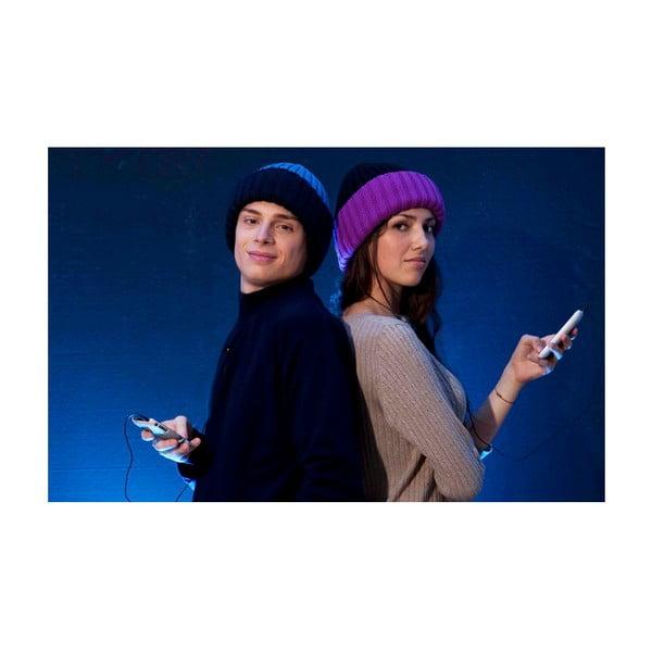 Zimní čepice se sluchátky hi-Hat, tmavě modrá s červeným okrajem