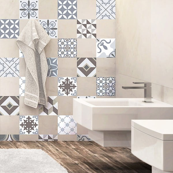 Sada 24 dekoratívnych samolepiek na stenu Ambiance Mosaic Portugal,10×10 cm