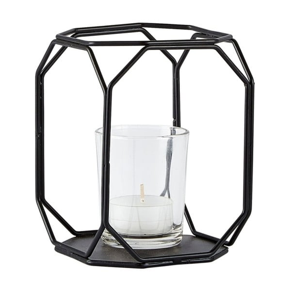 Skleněný svícen v černém kovovém rámu KJ Collection