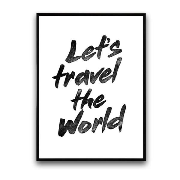 Plakát v dřevěném rámu Let´s travel, 38x28 cm