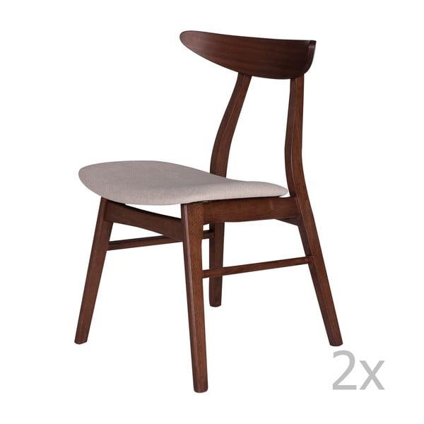 Set 2 scaune din lemn de cauciuc cu șezut bej sømcasa Salma