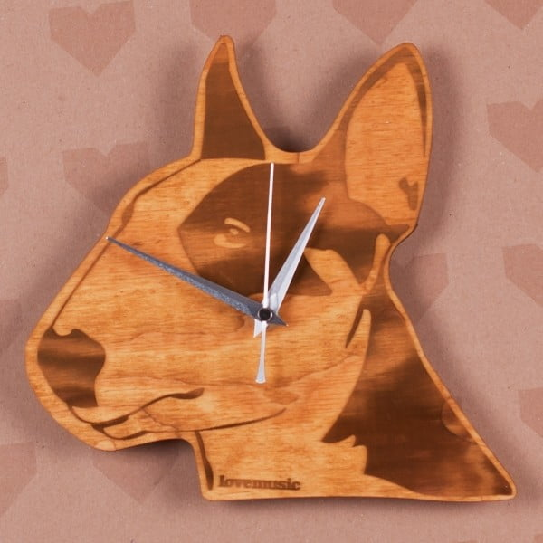 Dřevěné hodiny Bulteriér
