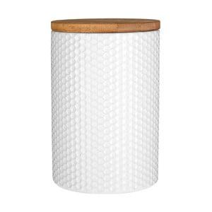 Recipient cu capac din lemn de bambus Premier Housewares, ⌀ 10 cm, alb