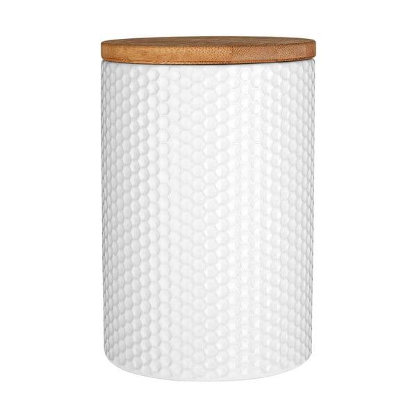 Recipient din dolomită și capac din bambus Premier Housewares, ⌀ 10 cm, alb