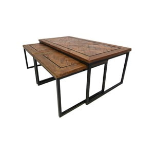 Sada 3 příručních stolků z recyklovaného dřeva HSM collection Bradley