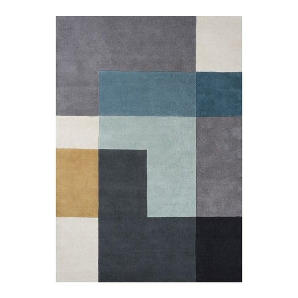 Vlněný koberec Tetris Aqua, 170x240 cm
