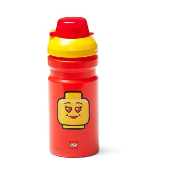 Sticlă pentru apă cu capac galben LEGO® Iconic, 390 ml, roşu