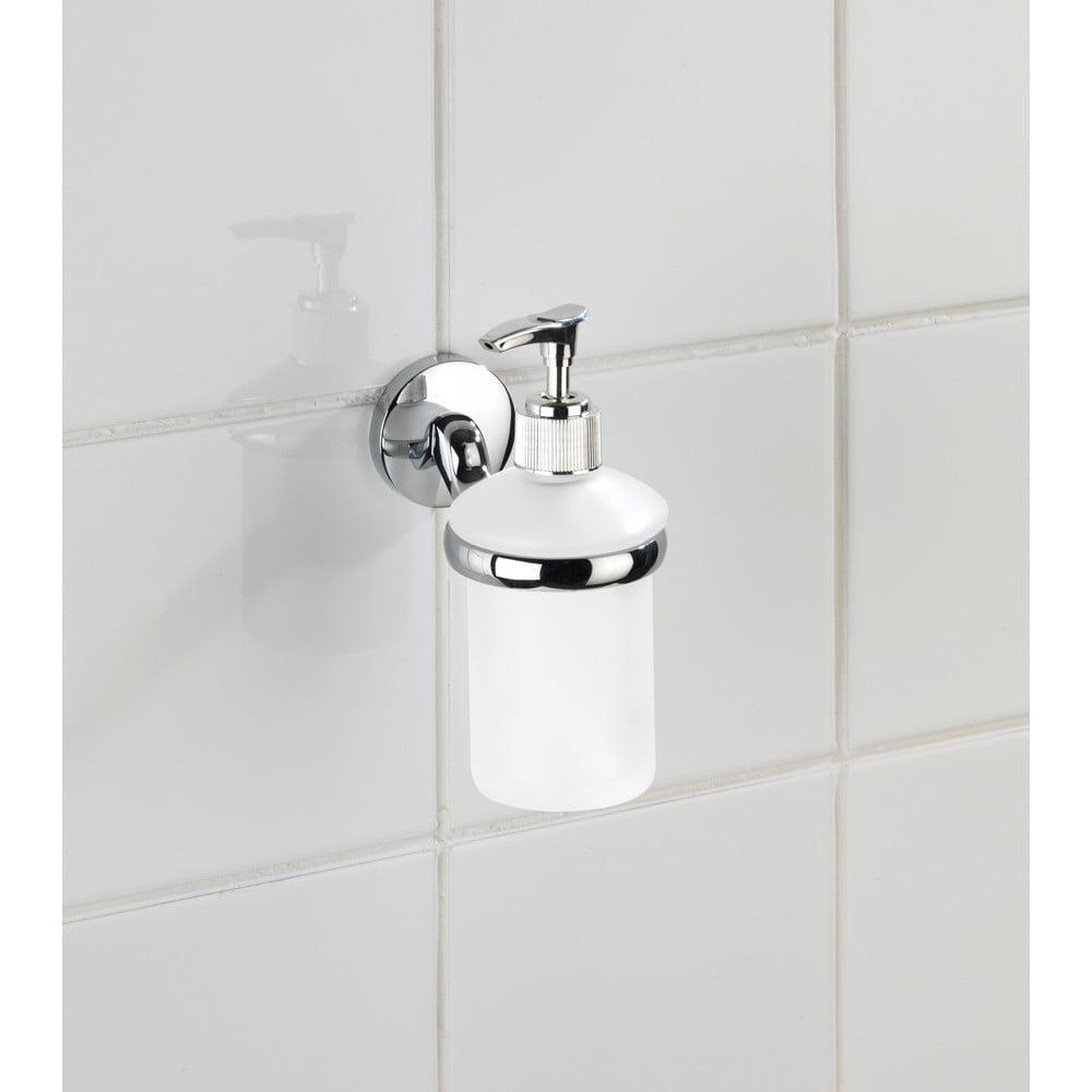 Produktové foto Bílý nástěnný dávkovač na mýdlo s držákem z nerezové oceli Wenko Cuba