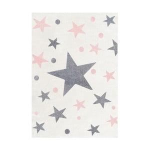 Covor pentru copii cu stele gri și roz Happy Rugs Stars, 160 x 230 cm, alb