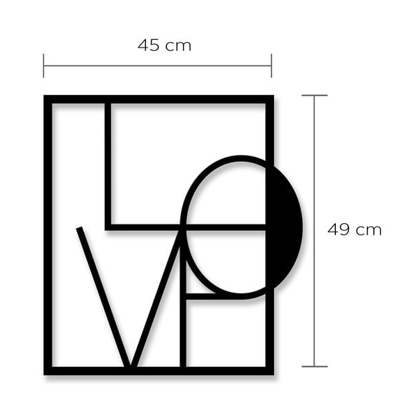 Nástěnná kovová dekorace Love