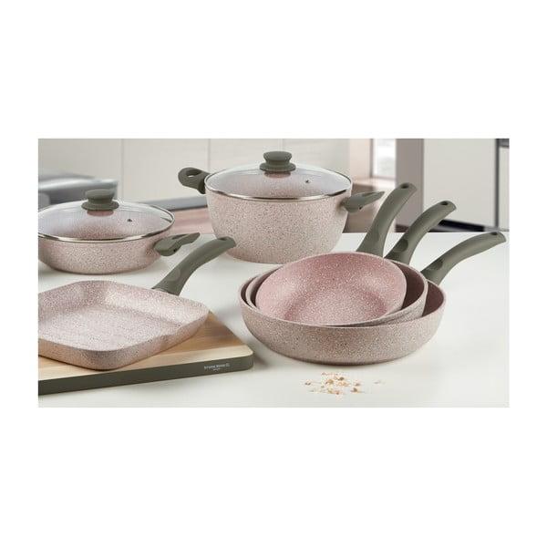 4dílný set nádobí s šedou rukojetí Bisetti Stonerose