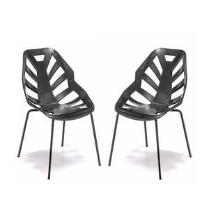 Set 2 černých židlí Ninja, lakované černé nohy