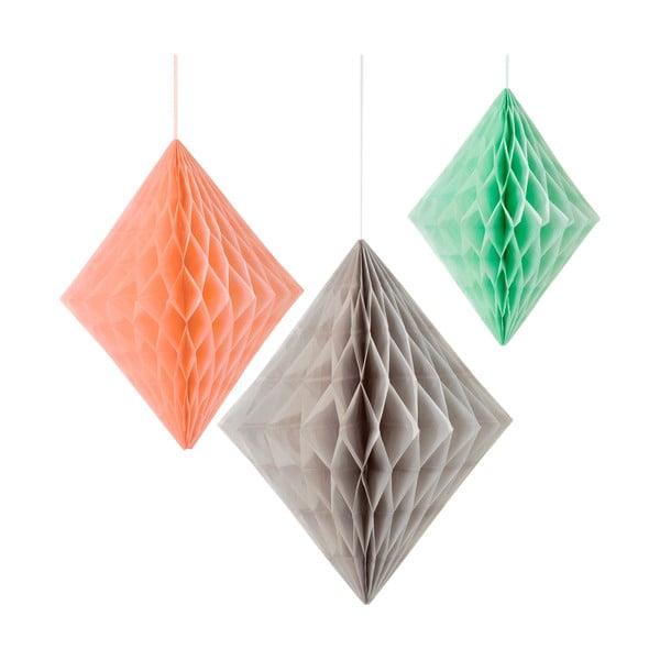Papírové dekorace Honeycomb Diamond Peach&Mint, 3 kusy