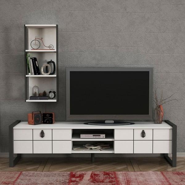 Set comodă TV și etajeră de perete Lost, alb