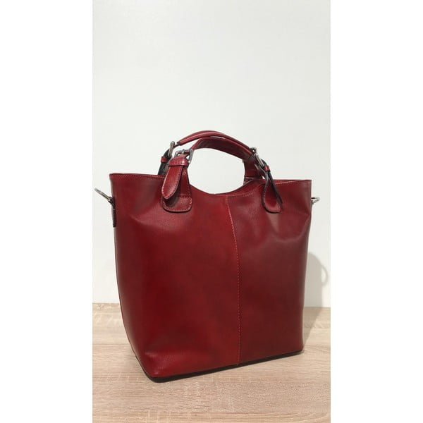 Červená kožená kabelka Massimo Castelli Valeria