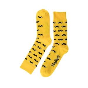 Žluté ponožky Funky Steps Mustache, velikost 39 – 45