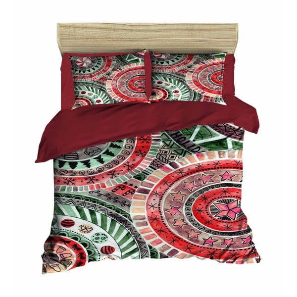 Lenjerie de pat cu cearșaf Mandala Red Green, 200 x 220 cm