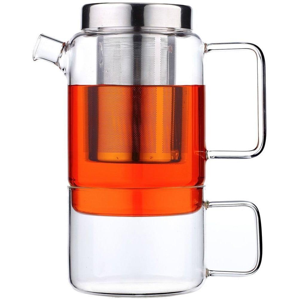 Konvička z borosilikátového skla na přípravu sypaného čaje Bredemeijer Salerno, 750 ml