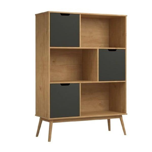 Bibliotecă cu 3 compartimente din lemn de pin SOB Van