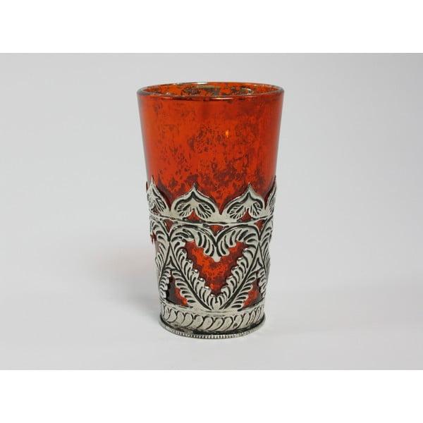 Svícen s patinou Orange Cozy, 13 cm