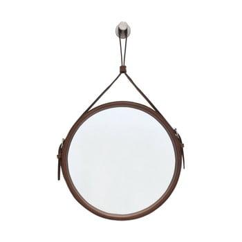Oglindă suspendată cu ramă maro RGE Elvis, ø 60 cm imagine