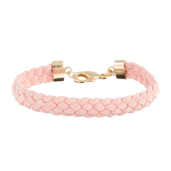 Náramek Strand braided gold, light pink