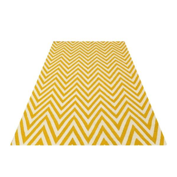 Vlněný koberec Zig Zag Yellow, 200x140 cm