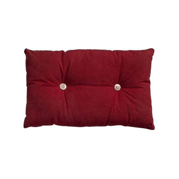 Polštář s výplní Button 65x40 cm, červený