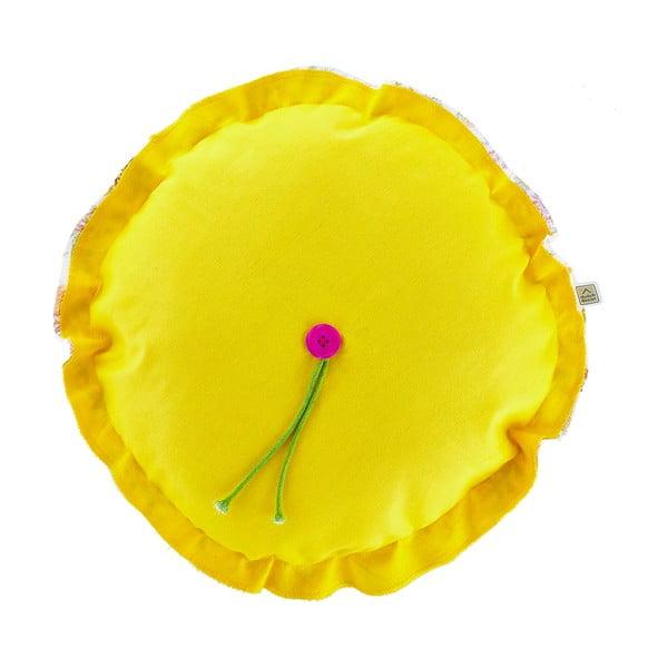 Polštář s náplní Melzo Yellow, průměr 40 cm