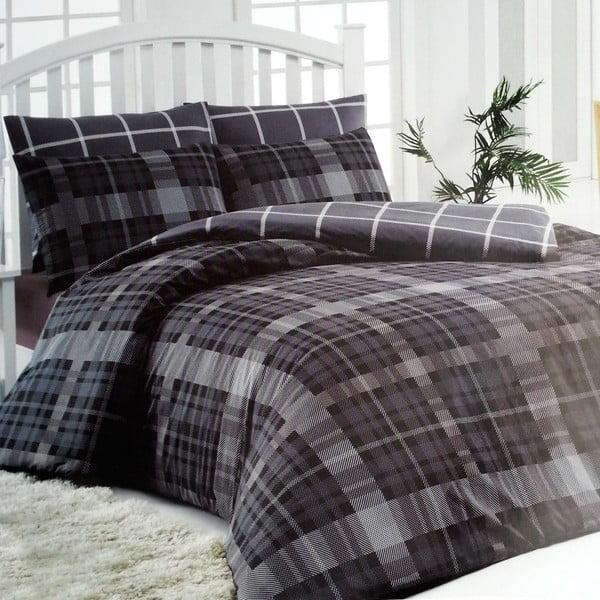 Povlečení Checke Black & White, 160x220 cm