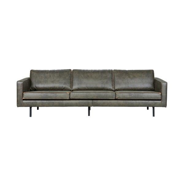 Rodeo szürke háromszemélyes kanapé, újrahasznosított bőrhuzattal - BePureHome