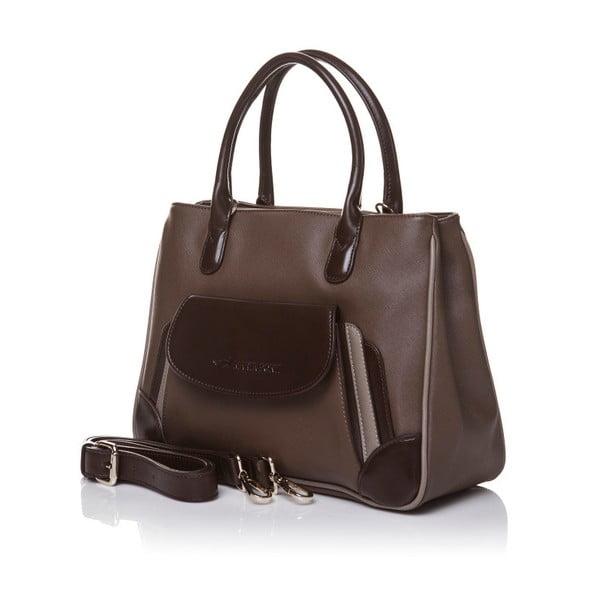 Kožená kabelka do ruky Marta Ponti Pocket, světle hnědá/tmavě hnědá