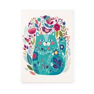 Obraz na plátně Naf Naf Flowers and Cat, 70x50cm