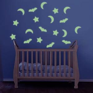 Svítící samolepka Hvězdy, hvězda a netopýr, 60x30 cm
