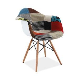 Jídelní židle s dřevěnýma nohama a bílými zády Signal Denis Patchwork