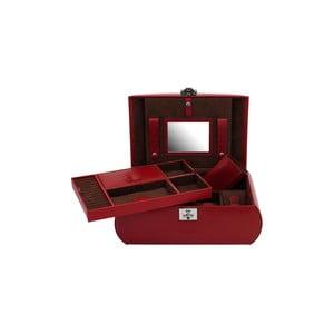 Červená šperkovnice s vyjímatelnou přihrádkou Friedrich Lederwaren Cordoba