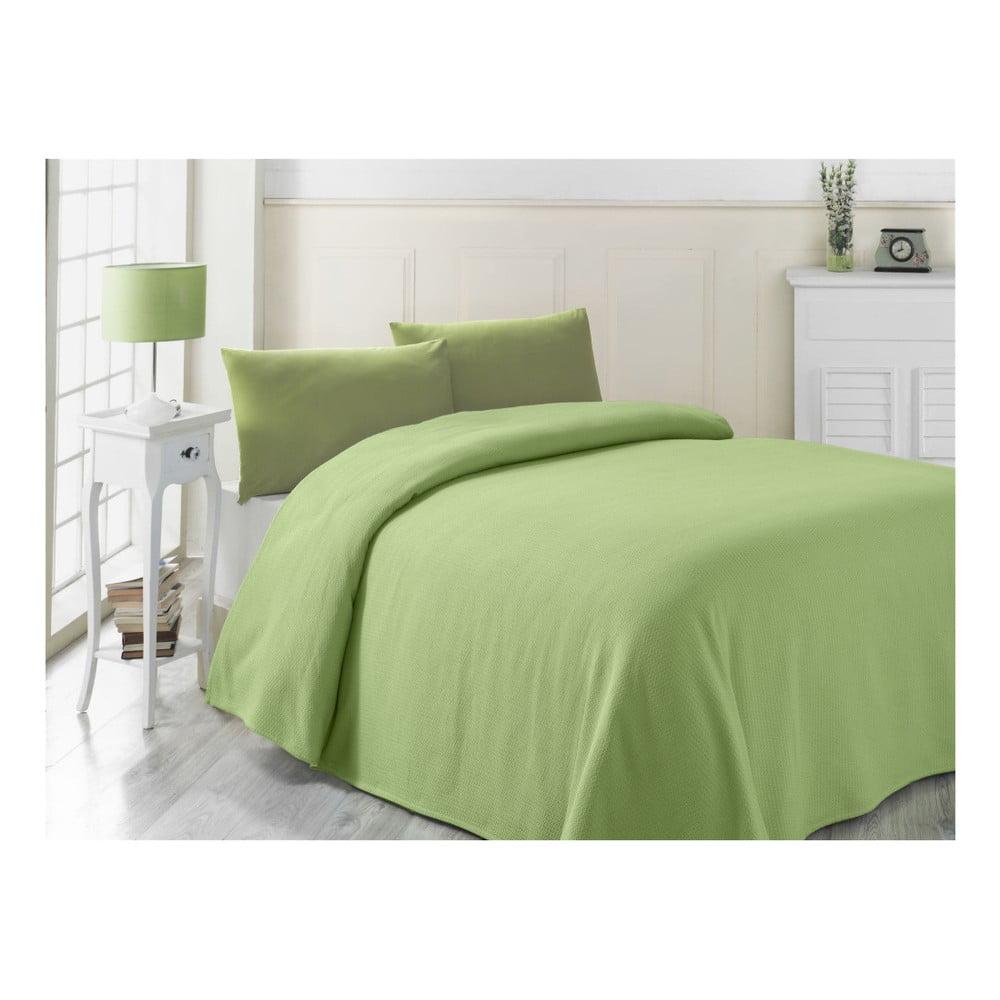 Zelený lehký přehoz přes postel Yesil, 200 x 230 cm