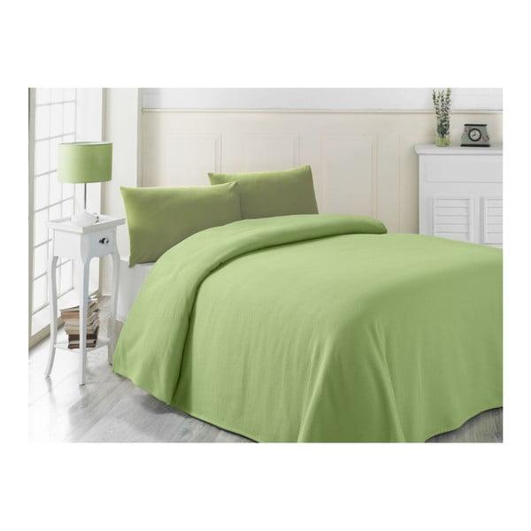 Zelená ľahká prikrývka cez posteľ Yesil, 200×230cm